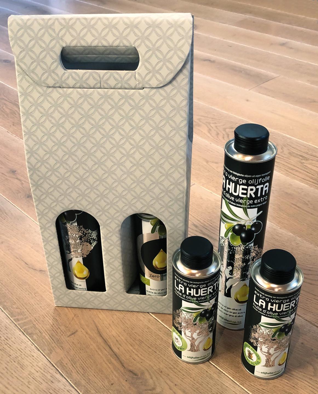 pakket olijfolie EVOO + gearomatiseerde olijfolie (3)
