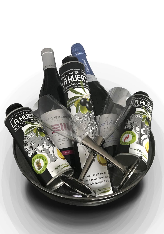 pakket olijfolie EVOO, gearomatiseerde olijfolie, wijn en cava (5)