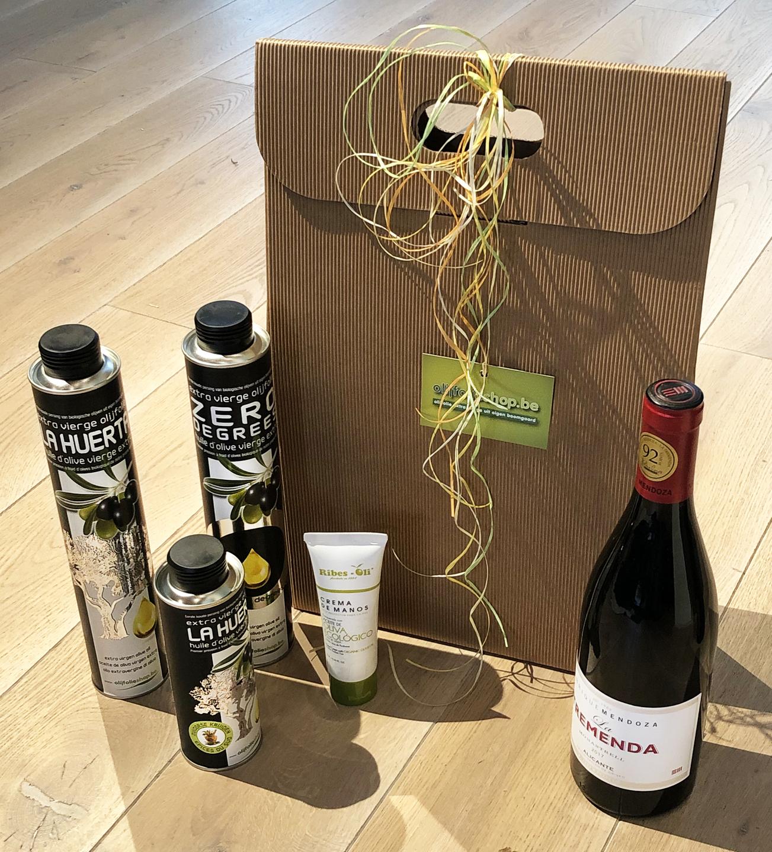 pakket olijfolie EVOO, gearomatiseerde olijfolie, wijn en cava (6B)