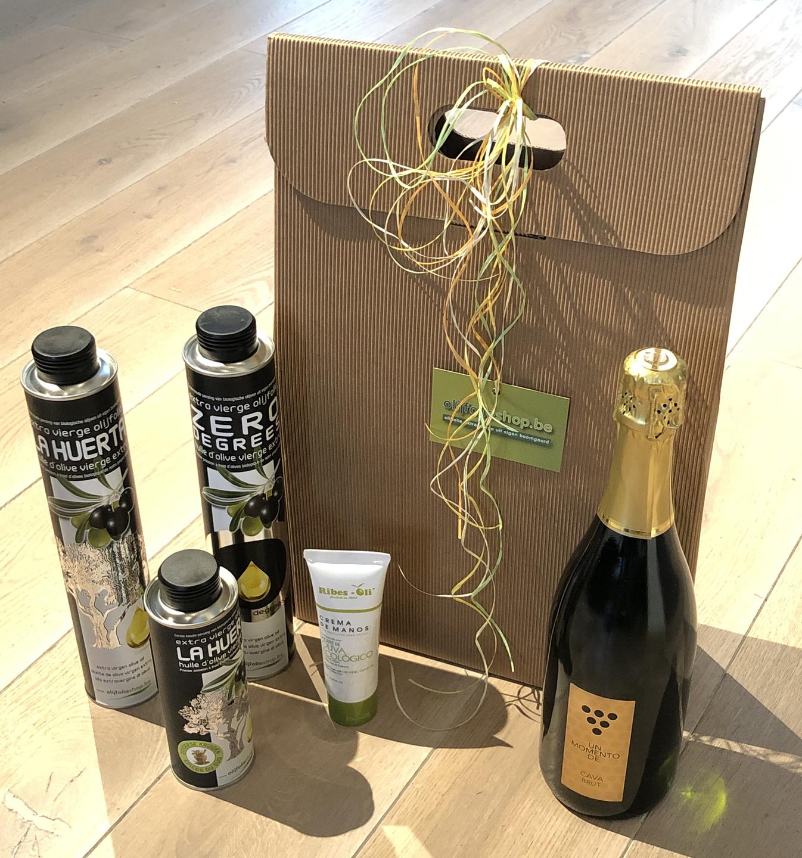 pakket olijfolie EVOO, gearomatiseerde olijfolie, wijn en cava (6C)